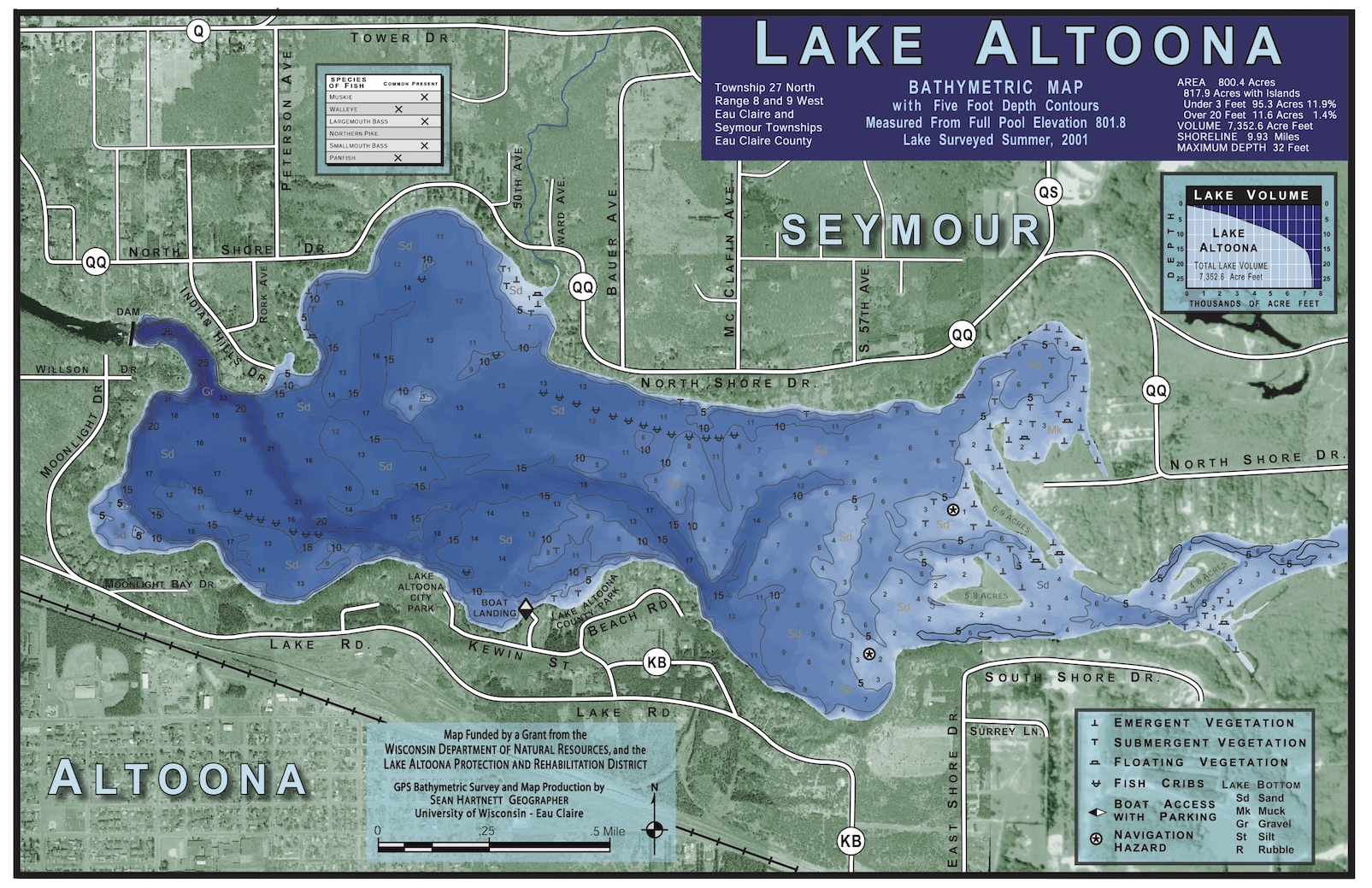 lake eau claire map Lake Maps Lake Altoona District Eau Claire County Wi lake eau claire map